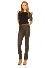 STUDIO AR BY ARMA |  Leather pants with side split Evita | brown  | Picture 2