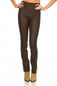 STUDIO AR BY ARMA |  Leather pants with side split Evita | brown  | Picture 4