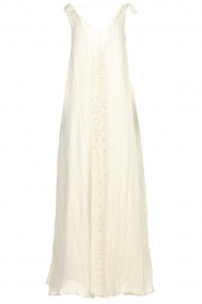 Hipanema |  Maxi dress with embroideries and lurex stripes Fernanda | white  | Picture 1