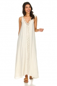 Hipanema |  Maxi dress with embroideries and lurex stripes Fernanda | white  | Picture 2