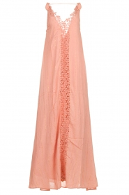Hipanema |  Maxi dress with embroideries and lurex stripes Fernanda | pink  | Picture 1
