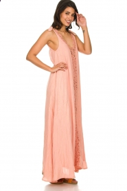 Hipanema |  Maxi dress with embroideries and lurex stripes Fernanda | pink  | Picture 4