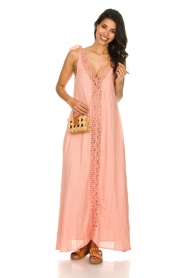 Hipanema |  Maxi dress with embroideries and lurex stripes Fernanda | pink  | Picture 3