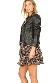 STUDIO AR BY ARMA :  Leather biker jacket Cherry | black - img5