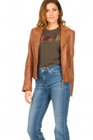 STUDIO AR BY ARMA |  Leather biker jacket Cherry | camel  | Picture 5