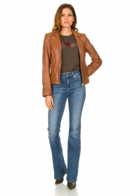 STUDIO AR BY ARMA |  Leather biker jacket Cherry | camel  | Picture 3