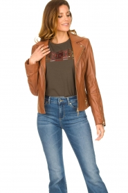 STUDIO AR BY ARMA |  Leather biker jacket Cherry | camel  | Picture 4