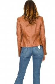 STUDIO AR BY ARMA |  Leather biker jacket Cherry | camel  | Picture 7