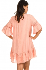 Hipanema |  Dress with embroideries and lurex stripes Kalli | pink  | Picture 5
