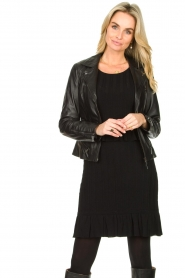 STUDIO AR BY ARMA |  Leather biker jacket Bebe | black  | Picture 2