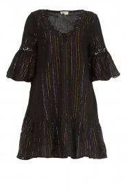 Hipanema |  Dress with embroideries and lurex stripes Kalli | black