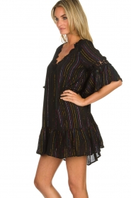 Hipanema |  Dress with embroideries and lurex stripes Kalli | black  | Picture 4