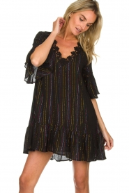 Hipanema |  Dress with embroideries and lurex stripes Kalli | black  | Picture 2