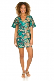 Hipanema |  Printed dress with glitter sequins Bangui | green  | Picture 3