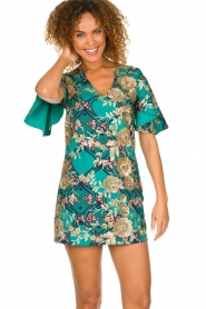 Hipanema |  Printed dress with glitter sequins Bangui | green  | Picture 4