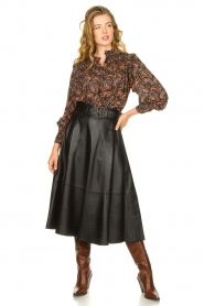 STUDIO AR BY ARMA | Belted leather midi skirt Romee | black  | Picture 3