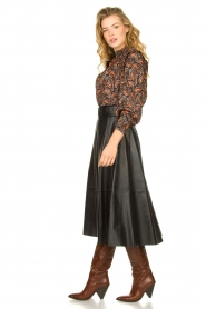 STUDIO AR BY ARMA | Belted leather midi skirt Romee | black  | Picture 6