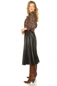 STUDIO AR BY ARMA | Belted leather midi skirt Romee | black  | Picture 5
