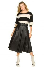 STUDIO AR BY ARMA | Belted leather midi skirt Romee | black  | Picture 4