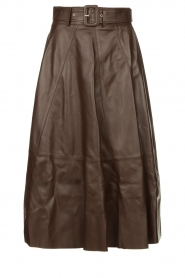STUDIO AR BY ARMA | Belted leather midi skirt Romee | brown  | Picture 1