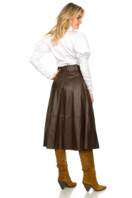STUDIO AR BY ARMA | Belted leather midi skirt Romee | brown  | Picture 7