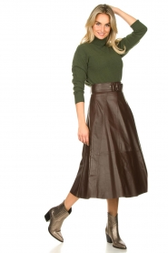 STUDIO AR BY ARMA | Belted leather midi skirt Romee | brown  | Picture 4