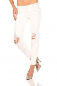 7 For All Mankind | Ripped skinny jeans crop | wit  | Afbeelding 2