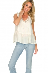 Hipanema |  Lurex striped top Erin | white  | Picture 2