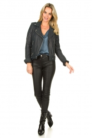 STUDIO AR BY ARMA | Leather biker jacket Kyra | blue  | Picture 3