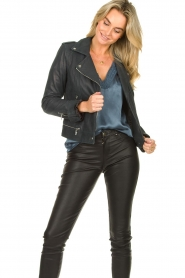 STUDIO AR BY ARMA | Leather biker jacket Kyra | blue  | Picture 4
