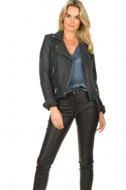 STUDIO AR BY ARMA | Leather biker jacket Kyra | blue  | Picture 2