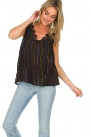 Hipanema |  Lurex striped top Erin | black  | Picture 2