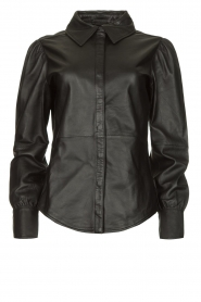 STUDIO AR BY ARMA |  Leather puff sleeve blouse Jade | black  | Picture 1