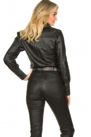 STUDIO AR BY ARMA :  Leather puff sleeve blouse Jade | black - img7