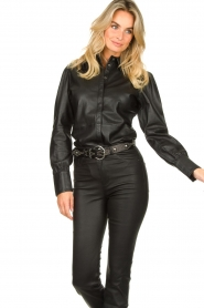 STUDIO AR BY ARMA :  Leather puff sleeve blouse Jade | black - img5