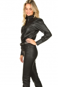 STUDIO AR BY ARMA :  Leather puff sleeve blouse Jade | black - img6