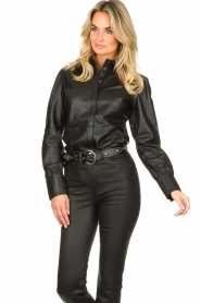 STUDIO AR BY ARMA :  Leather puff sleeve blouse Jade | black - img4