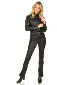 STUDIO AR BY ARMA :  Leather puff sleeve blouse Jade | black - img3
