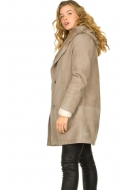 STUDIO AR BY ARMA |  Leather lammy coat Babina | taupe  | Picture 7