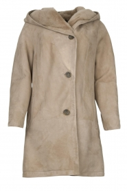 STUDIO AR BY ARMA |  Leather lammy coat Babina | taupe  | Picture 1