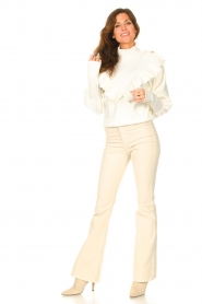 Lois Jeans |  L32 High waist flared jeans Raval | beige  | Picture 4
