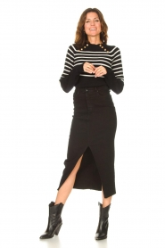 Lois Jeans    Stretchy midi denim skirt Flo   black    Picture 3