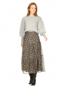 Sofie Schnoor |  Maxi skirt with print Ellie | black  | Picture 5