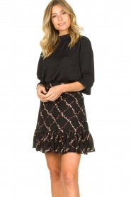 Second Female |  Skirt with floral print Louis | black  | Picture 4