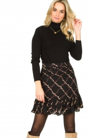 Second Female |  Skirt with floral print Louis | black  | Picture 5
