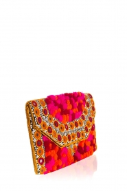 Hipanema :  Beaded clutch with pom poms Mexicane | pink - img3