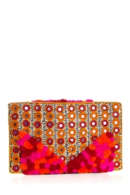 Hipanema :  Beaded clutch with pom poms Mexicane | pink - img4