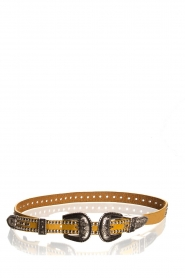 Hipanema |  Leather double buckle belt Alena | yellow  | Picture 1