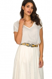 Hipanema |  Leather double buckle belt Alena | yellow  | Picture 3