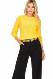 Hipanema |  Leather double buckle belt Alena | yellow  | Picture 2